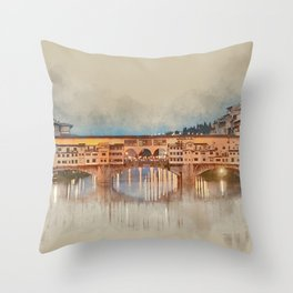 Firenze, Ponte Vecchio Throw Pillow