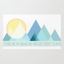 Geometric Color Block Mountains (Blues) Rug