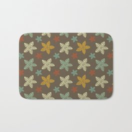 Retro Brown Blue Yellow Gold Polynesian Flowers Pattern Bath Mat