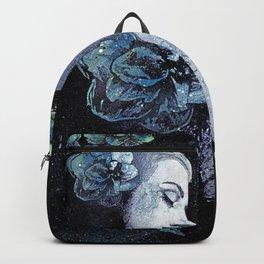 Obey Me: Blue (graffiti flower woman portrait) Backpack