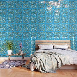 Bees pattern in blue Wallpaper