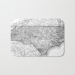 Vintage Map of North Carolina (1859) BW Bath Mat