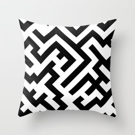 Black and White Diagonal Labyrinth Throw Pillow