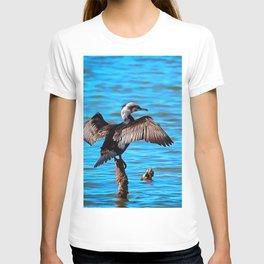 Cormorant Wings on Blue Water T-shirt