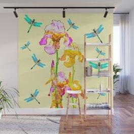 GOLDEN PURPLE IRIS & BLUE DRAGONFLIES Wall Mural