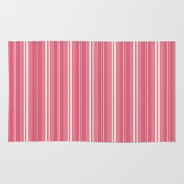 Nantucket Red and White Shades Pinstripe Rug
