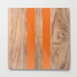 Wood Grain Stripes - Orange #840 Metal Print