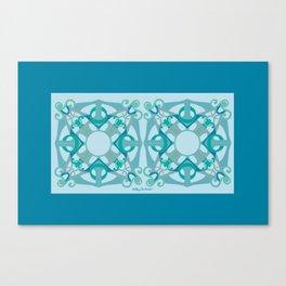 Support Love Mandala x 2 - Aqua/Blue Canvas Print