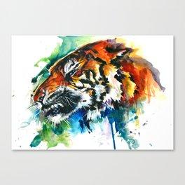 Orange Mad Tiger Watercolor Canvas Print
