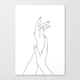 Hands line drawing illustration - Dia Canvas Print