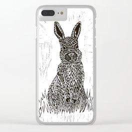 Rabbit Lino Print Clear iPhone Case