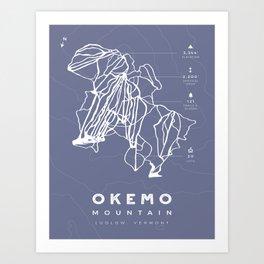 Okemo Mountain, Ski Trail Map Art Print