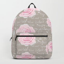 Watercolor roses on Taupe with French script Backpack