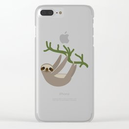 Three-toed sloth on green branch blue background Clear iPhone Case