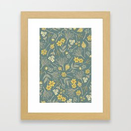 Yellow, Cream, Gray, Tan & Blue-Green Floral Pattern Framed Art Print
