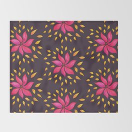 Whimsical Watercolor Floral Pattern In Pink And Purple Throw Blanket
