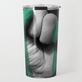 Nigerian Flag on a Raised Clenched Fist Travel Mug