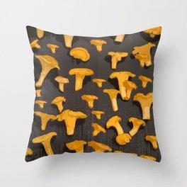 Chantterelles On A Dark Grey Background - Autumn Harvest - #Society6 #buyart Throw Pillow