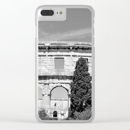 arena amphitheatre pula croatia ancient black white Clear iPhone Case