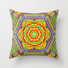 Stained Glass Kaleidoscope Throw Pillow
