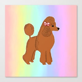Red Poodle with Pastel Rainbow Canvas Print