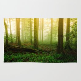 Misty Green Forest Photography Rug