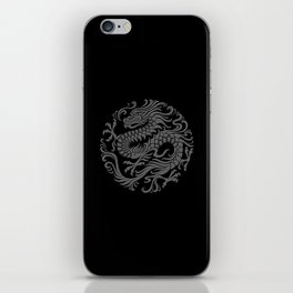 Traditional Gray and Black Chinese Dragon Circle iPhone Skin