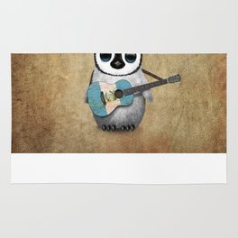 Baby Penguin Playing Guatemalan Flag Acoustic Guitar Rug