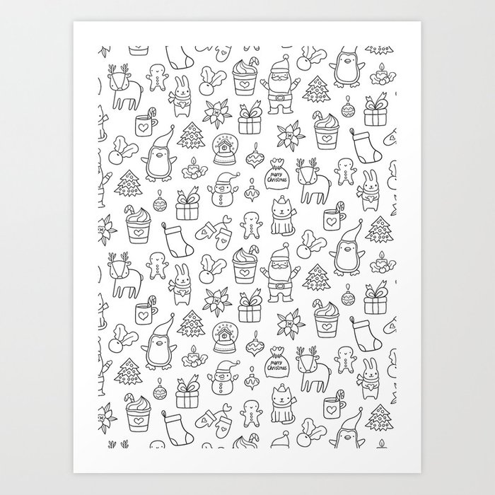 Merry Christmas doodles Art Print by