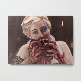 Mother of Dragons Eating a Horse Heart Metal Print