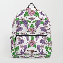 Lilacs, Peonies, Hellebore, & Sparrows - Pink & Purple Flowers w/ Birds & Moths Backpack
