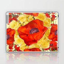 ORANGE POPPY FLOWERS GARDEN YELLOW ROSES ART Laptop & iPad Skin