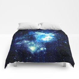 Galaxy NEbula. Teal Turquoise Blue Aqua Comforters