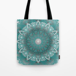 Turquoise Flower Mandala Tote Bag