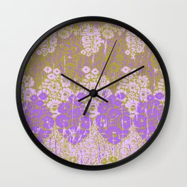 floral paisley on olive Wall Clock