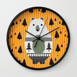 Cute bear, stripes and a fir forest Wall Clock