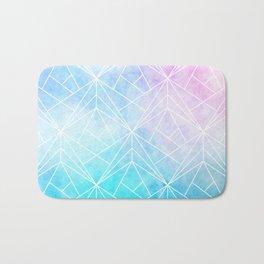 Geometric White Pattern on Watercolor Background Bath Mat