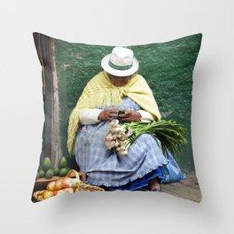 Vegetable and Fruit vendor, Cuenca, Ecuador Throw Pillow