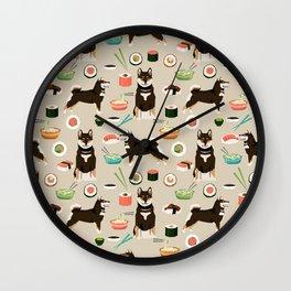 shiba inu sushi black and tan dog breed pet pattern dog mom Wall Clock