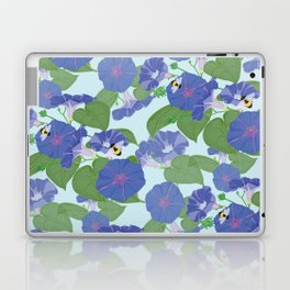 Glory Bee - Vintage Floral Morning Glories and Bumble Bees Laptop & iPad Skin