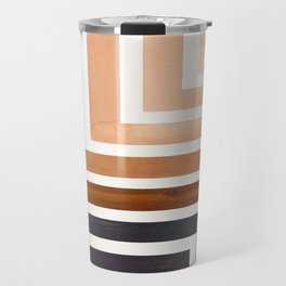 Raw Umber Mid Century Modern Watercolor Colorful Ancient Aztec Art Pattern Minimalist Geometric Patt Travel Mug
