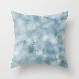Blue dark green batic look Throw Pillow