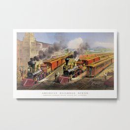 American Railroad Scene (Currier & Ives) Metal Print
