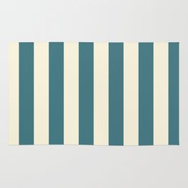 Blue-green and cream  vertical stripes Rug