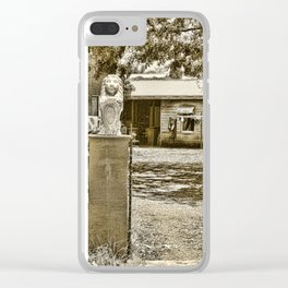 Stone lions guarding a Country Palace Clear iPhone Case