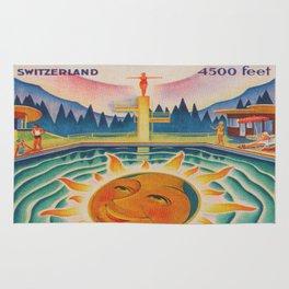 Adelboden, Switzerland Vintage Travel Poster Rug