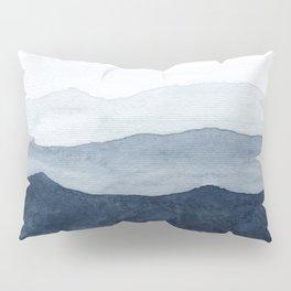 Indigo Abstract Watercolor Mountains Pillow Sham