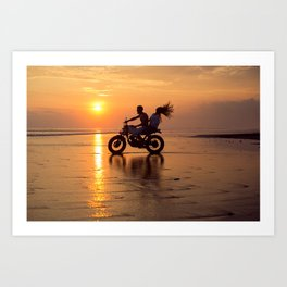 Young couple posing in the beach on custom vintage motorcycle Art Print
