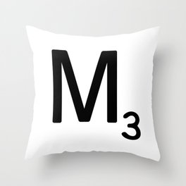 Letter M - Custom Scrabble Letter Tile Art - Scrabble M Initial Throw Pillow