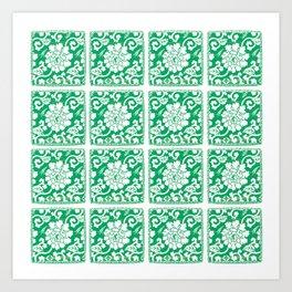 Jade Chinoiserie Tile Art Print